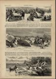 Birch Bark Canoe Wigwams Indian Annuity Payment 1871 great old print for display