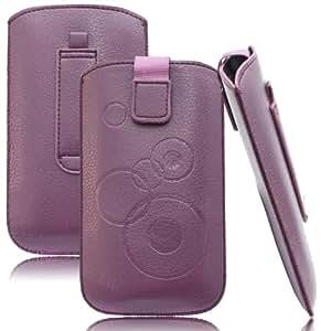 Slim Case Lila für LG D605 Optimus L9 II Tasche Ledertasche Handytasche Leder Kunstleder Schutz Hülle Schutzhülle Gürteltasche Schlaufe Gürtelschlaufe Seitentasche Etui Holster