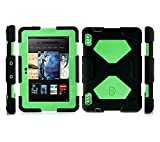 """ACEGUARDER Shockproof Case for Kindle Fire HDX 7"""" Rainproof Shockproof Kids Proof Case for Kindle Fire HDX 7""""(only Fit Kindle Fire HDX 7 2013) (Gifts Outdoor Carabiner + Whistle + Handwritten Touch Pen) (BLACK/GREEN)"""