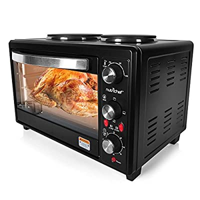 NutriChef Turkey Roaster Thanks Giving Rotisserie Cooker Countertop Broiler with Dual Electric Burner, Broiler Black (PKRTO28 )