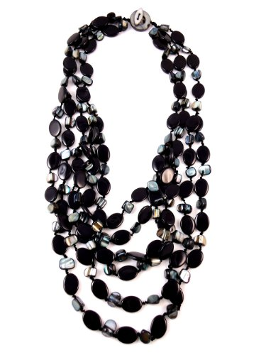 Multi Strand Beaded Necklace, Black and Pearl