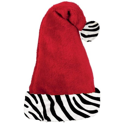 Zebra Cuff Santa Hat