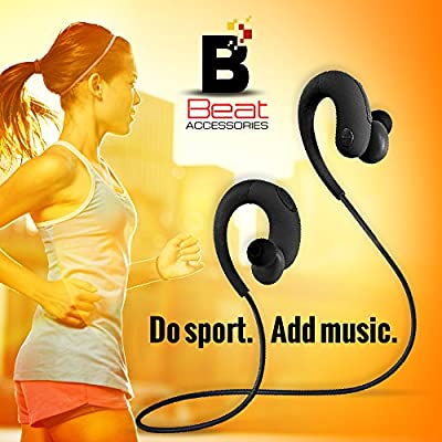 B plus Bluetooth Headphones With Mike Wireless Sport Stereo In -Ear Noise Cancelling Sweat proof Earbuds for workout and all activities Easy Pairing with All Smartphones Black