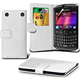 Fone-Case ( White ) Blackberry Curve 9360 Faux Stylish PU Leather Wallet Credit / Debit Card Flip Case Skin Cover With Screen Protector Guard
