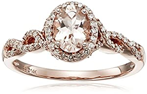 14k Pink Gold Morganite and Diamond Oval Ring (1/4cttw, I-J Color, I2-I3 Clarity), Size 7 from Amazon Collection
