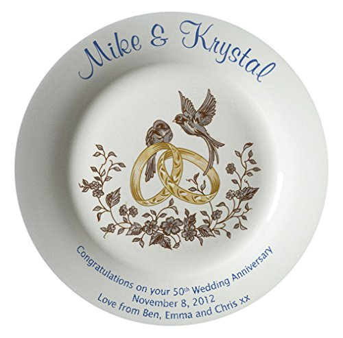 Personalized Bone China Commemorative Plate For A 50th Wedding Anniversary - Rings And Doves Design With A Plain Rim
