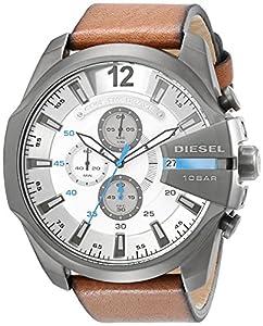 Diesel Herren-Armbanduhr XL Mega Chief Chronograph Quarz Leder DZ4280