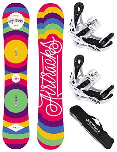 AIRTRACKS DAMEN SNOWBOARD SET / PINTO BOARD ZERO ROCKER + BINDUNG SAVAGE W + SB BAG / 144 150 156 / cm