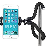 RIF6 Flexible Tripod for iPhone, Digital Camera, Webcam; Lightweight, Mini and Portable with Mobile Ball Head and Universal Octopus Mount