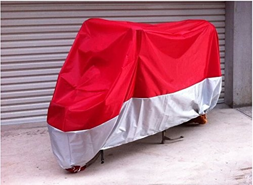 Fld Motorcycle Bike Moped Scooter Cover Waterproof Rain Uv Dust Prevention Dustproof Covering (Red+Silver, L)