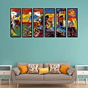 999Store Fiber Framed Printed Abstract Design Multicolour Art Panels Wall Painting- 6 Frames