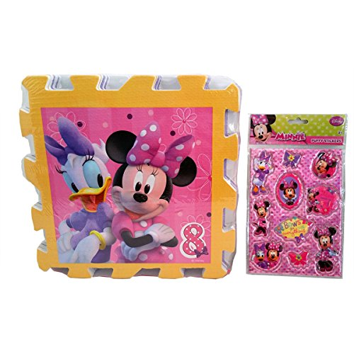 "8 Piece Extra Large Disney Licensed Minnie Mouse Soft Foam Hopschotch Playmat Puzzle Activity 13"" X 24"" and Disney Minnie Mouse Puffy Stickers(PZL)"