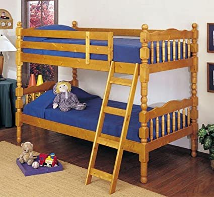 Honey Oak Finish Twin / Twin Convertible Wooden Bunk Bed Set