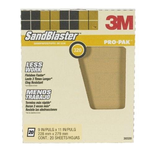 3M SandBlaster Pro-Pak 30320 Between Coats Sandpaper, 320 Grit, 9 in X 11 in
