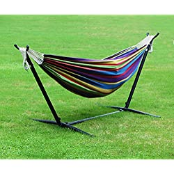 Homedex 9' Denim Double Hammock with Space Saving Steel Stand