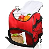 Sacko Large Insulated Lunch Bag With Adjustable Shoulder Strap (Red)