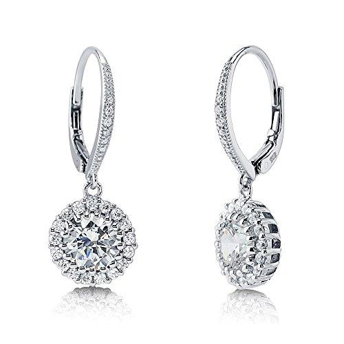 Berricle Sterling Silver 925 Cubic Zirconia Cz Flower Dangle Leverback Earrings