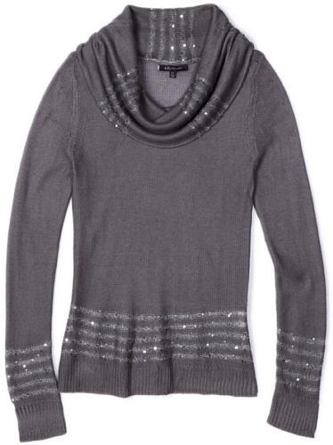 Ak Anne Klein Women's Petite Longsleeve Cowl Neck Pullover Sweater