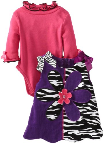 Bonnie Baby Baby-Girls Newborn Zebra Corduroy Scalloped Jumper Set, Purple, 3 Months front-868770