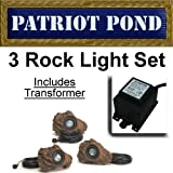 3 LED Submersible Rock Light Set for Ponds & Water Features