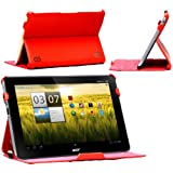 Navitech Royal Red 3x Angled Stand Faux Leather Case For The Acer Iconia Tab A200