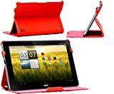Navitech Multi Stand Ruby Red Bycast Leather Case For The Acer Iconia Tab A200