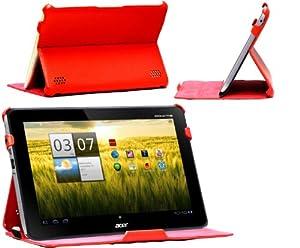 NAVITECH - Housse à rabat en cuir bycast rouge avec stand à angles multiples conçue spécialement pour le Acer Iconia Tab A210