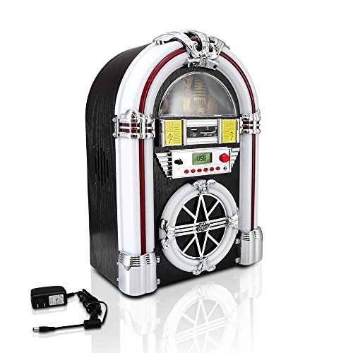Bluetooth Jukebox MP3 Speaker Player LED Lighting, AM/FM Radio, USB/SD Readers with Aux Input