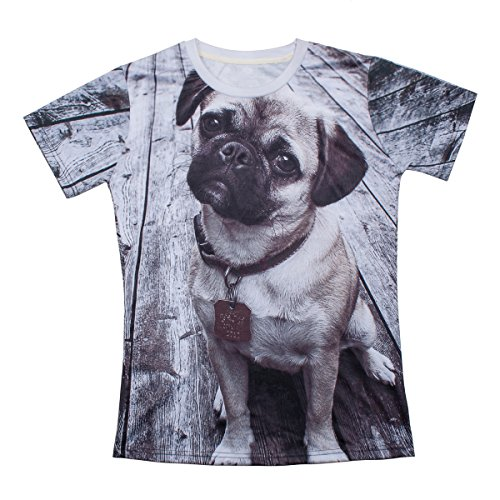 S-ZONE 3D Pug Dog Animals Sweatshirts Space Print Pullovers T-Shirt Tee Tops Jumper