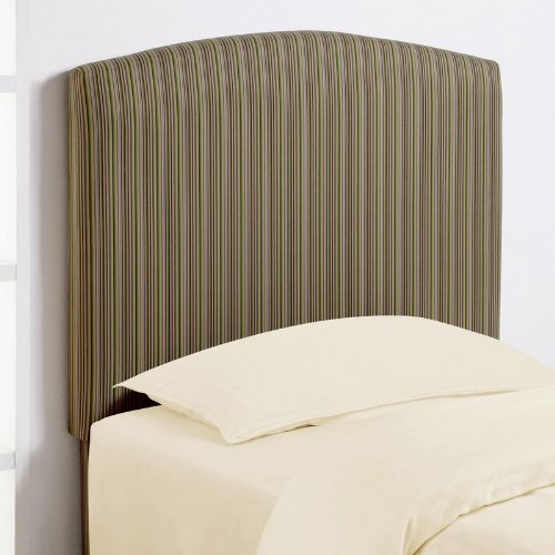 Cheap Twin Size Kid Headboard in Green Tone Stripe Fabric (VF_460305)