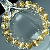 *ブラジル産 透明度抜群・太金針5A++級天然石ルチルクォーツ、ゴールドキャッツアイ・タイチンルチル クォーツ(黄金色)11~12mm珠パワーストーン.ブレスレット(女性LL.男性L.size)