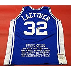 Autographed Christian Laettner Jersey - Stat - JSA Certified - Autographed College...