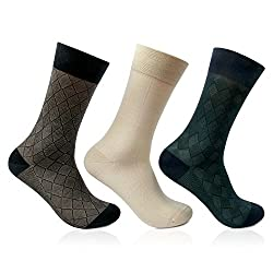 Bonjour Mens Pack of 3 Signature Geometrical Pattern Jacquard Socks _1953