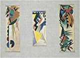 WallsnArt, Abstract Modern Framed Art Work Canvas Gallery Wrap,Three Compositions, By Sironi Mario, 1915, 20th Century, Ink And Tempera On Paper.