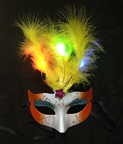 TECH LED feather mask Mardi Gras masquerade party mask feather (red blue purple red pink roses and silver-random (2)
