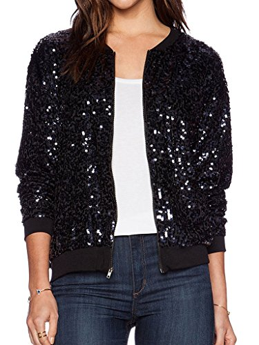 Collarless Long Sleeve Sequin Jacket