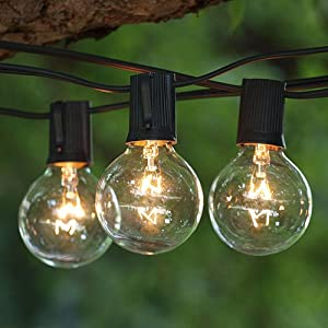 Patio String Lights 100 Ft Clear G50 Bulbs C9 Base Black Cord