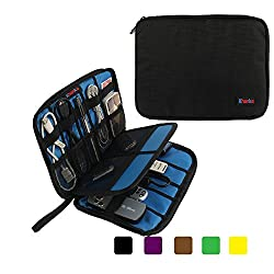 Khanka Portable Universal Electronics Accessories Travel Carrying Organizer Case For Various USB Cable, Flash Disk, Pen, Pencil and USB Drive Shuttle (Small-Black)