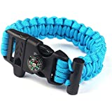 Atdoshop(TM) Rope Paracord Survival Bracelet Flint Fire Starter Compass Whistle