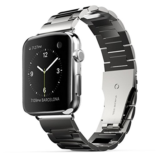 Apple Watch Band, MroTech Apple Watch Strap Stainless Steel Metal Replacement Link Bracelet Polishing iWatch Wrist Band with Double Button Folding Clasp for Apple Watch (L005) (42mm Space Gray)