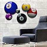 NEW Pool-Billiard Ball Prints for Rec Room, Office Decor or Man Cave Decoration. Home Bar Sign Alternative. Set of 6 Round Stretched Canvas Panels. Go Balls to the Wall! It's Round Art with an Edge