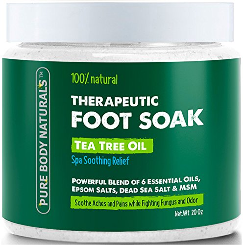 Foot Soak with Tea Tree Oil and Epsom Salt - 20 oz - Tea Tree Essential Oils Foot Bath Fights Fungus & Bacteria, Soothes Aches & Pains & Helps Soften Corns & Calluses (Salt For Feet compare prices)