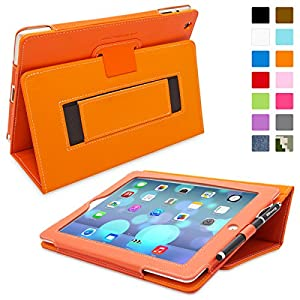 Snugg™ iPad 2 Case - Smart Cover with Flip Stand & Lifetime Guarantee (Orange Leather) for Apple iPad 2
