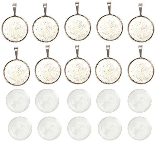 pandahall-10-set-25mm-cabochon-vetro-trasparente-per-fare-ciondoli-portafoto-con-basi-argento-antico