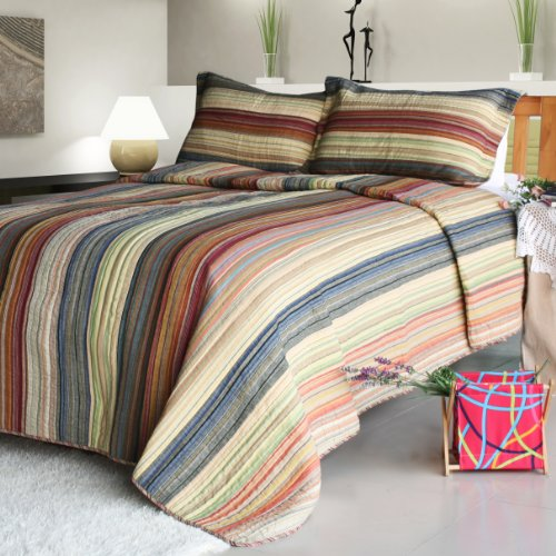 [Enthusiasm Desert-2] 100% Cotton 3PC Vermicelli-Quilted Striped Patchwork Quilt Set (Full/Queen Size)