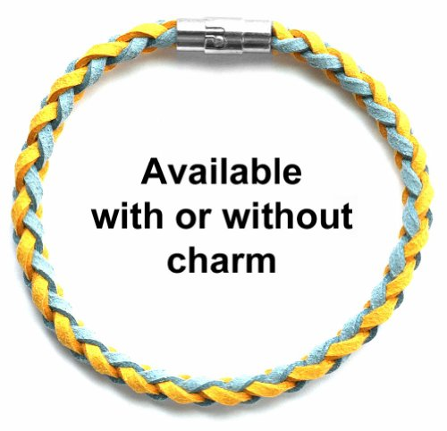 Braided Faux Suede Unisex Music & Band Bracelet (Team Colors Light Blue & Gold)-Without Charm-X-Large