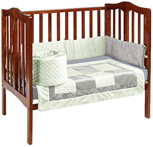 Baby Doll Croco Minky Port-a-Crib Bedding, Sage/Grey