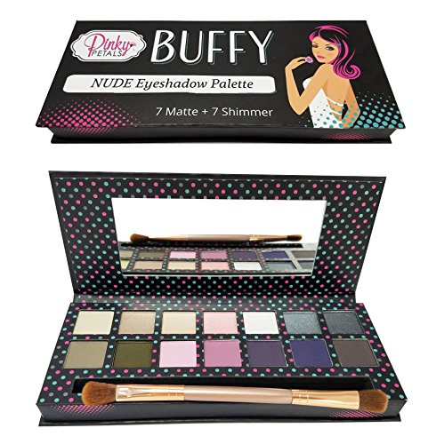 NUDE Eyeshadow Palette - 7 Matte and 7 Shimmer Colors by Pinky Petals (Buffy)