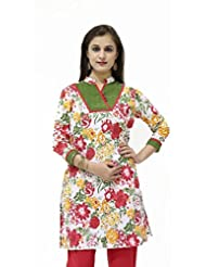 MultiColour Floral Printed 3/4 Sleeves Kurta