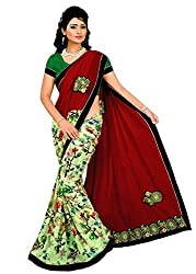 Tarang Women's Designer Georgette Embroidered Bollywood Saree with Blouse (Red)